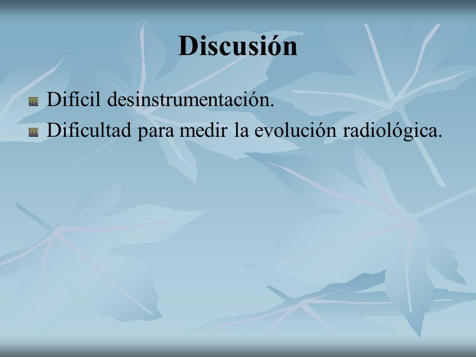 Discusión Difícil desinstrumentación. Dificultad para medir la evolución radiológica.