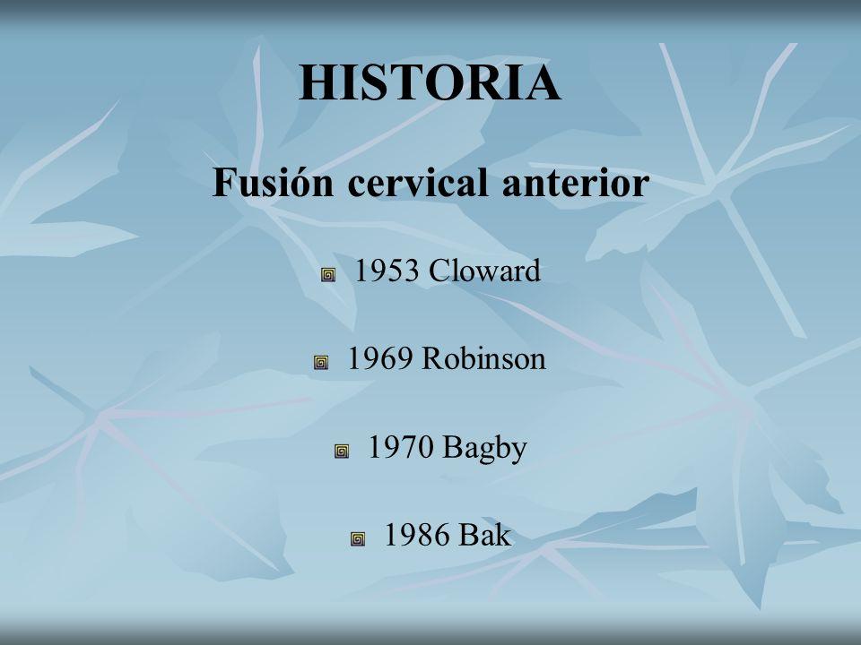 HISTORIA Fusión cervical anterior 1953 Cloward 1969 Robinson 1970 Bagby 1986 Bak