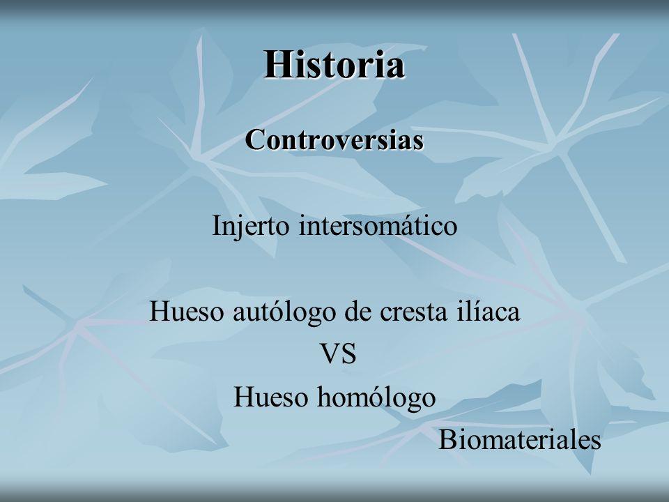 Historia Controversias Injerto intersomático Hueso autólogo de cresta ilíaca VS Hueso homólogo Biomateriales