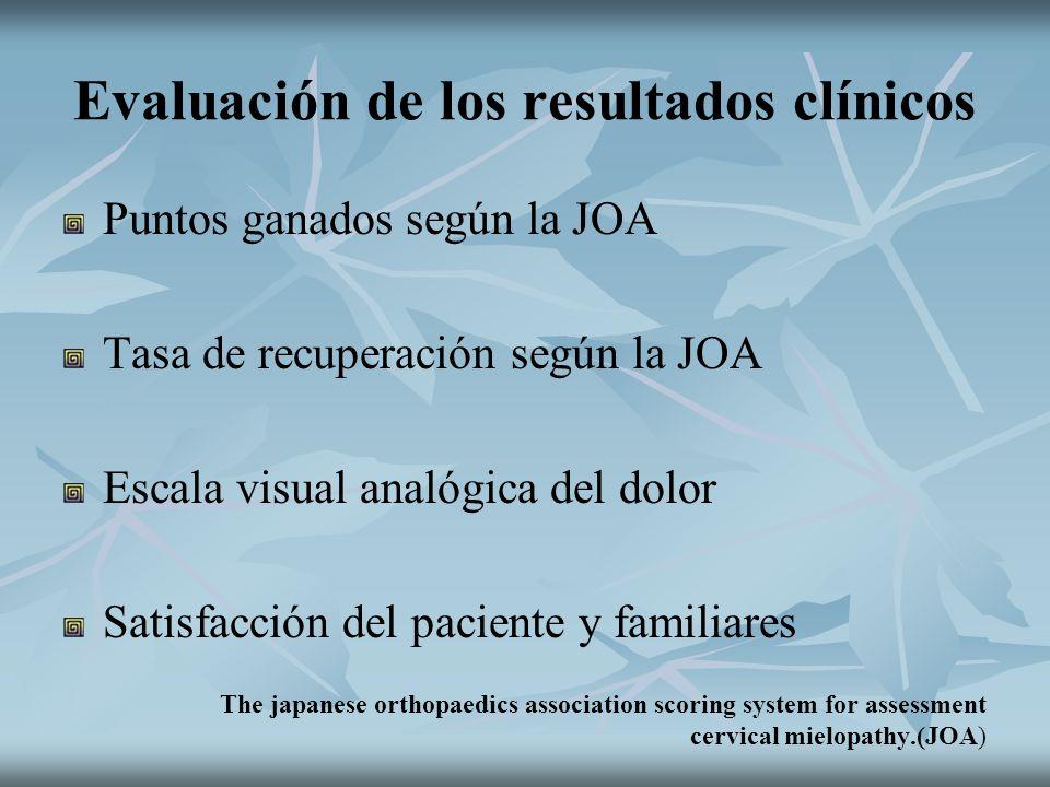 Evaluación de los resultados clínicos Puntos ganados según la JOA Tasa de recuperación según la JOA Escala visual analógica del dolor Satisfacción del