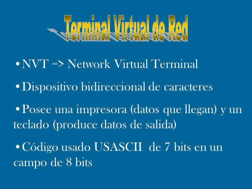 NVT => Network Virtual Terminal Dispositivo bidireccional de caracteres Posee una impresora (datos que llegan) y un teclado (produce datos de salida)