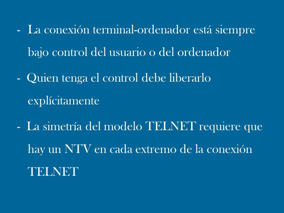 -La conexión terminal-ordenador está siempre bajo control del usuario o del ordenador - Quien tenga el control debe liberarlo explícitamente - La sime