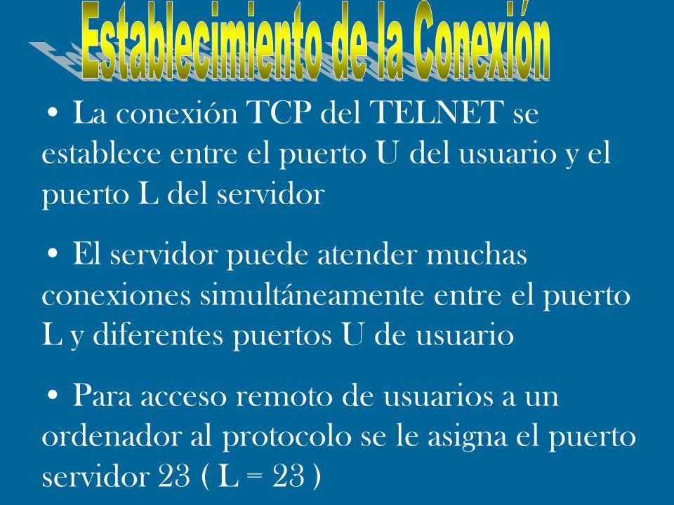 La conexión TCP del TELNET se establece entre el puerto U del usuario y el puerto L del servidor El servidor puede atender muchas conexiones simultáne