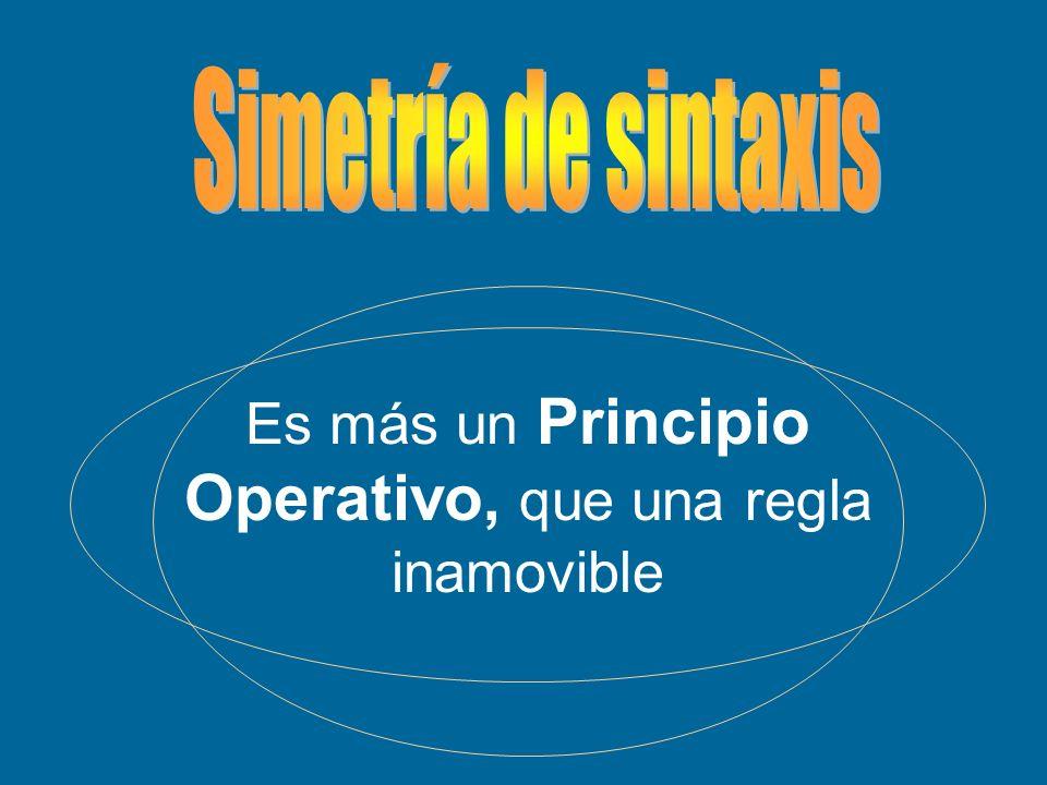 Es más un Principio Operativo, que una regla inamovible