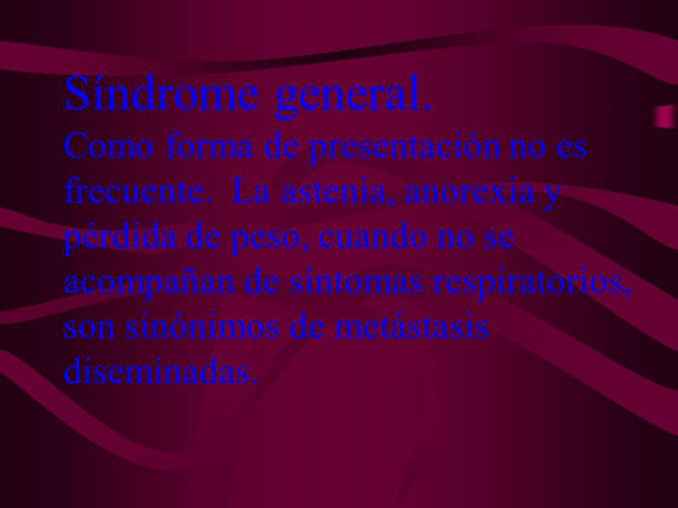 Síndrome general. Como forma de presentación no es frecuente. La astenia, anorexia y pérdida de peso, cuando no se acompañan de síntomas respiratorios