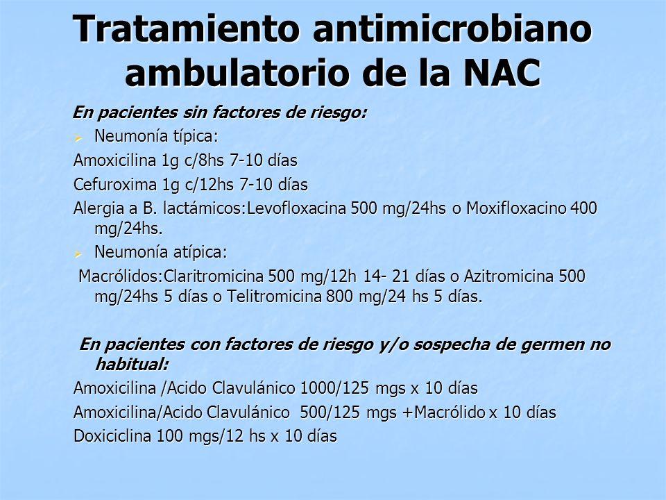 Tratamiento antimicrobiano ambulatorio de la NAC En pacientes sin factores de riesgo: En pacientes sin factores de riesgo: Neumonía típica: Neumonía t