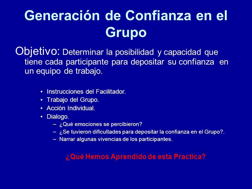 Generación de Confianza en el Grupo Objetivo: Determinar la posibilidad y capacidad que tiene cada participante para depositar su confianza en un equi