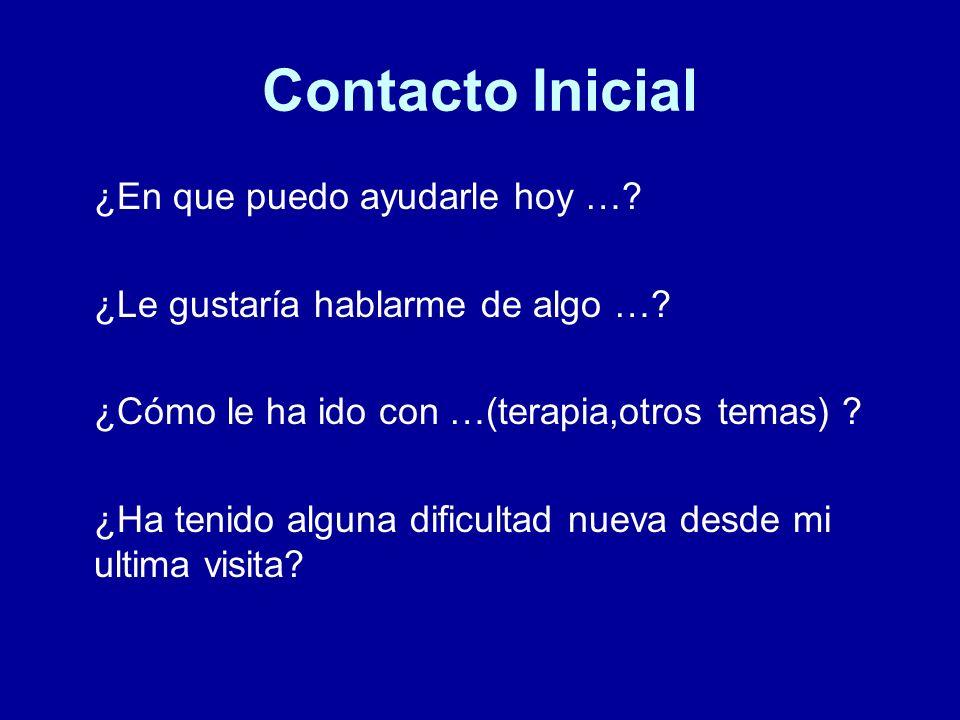 Contacto Inicial ¿En que puedo ayudarle hoy …? ¿Le gustaría hablarme de algo …? ¿Cómo le ha ido con …(terapia,otros temas) ? ¿Ha tenido alguna dificul