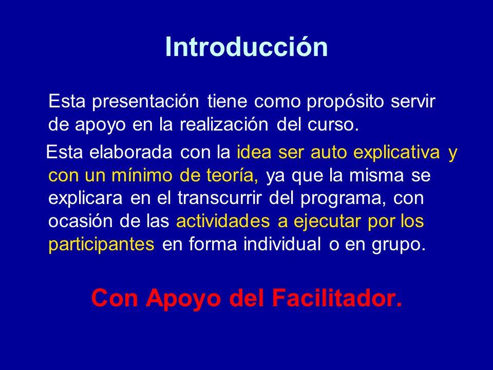 Introducción Esta presentación tiene como propósito servir de apoyo en la realización del curso. Esta elaborada con la idea ser auto explicativa y con