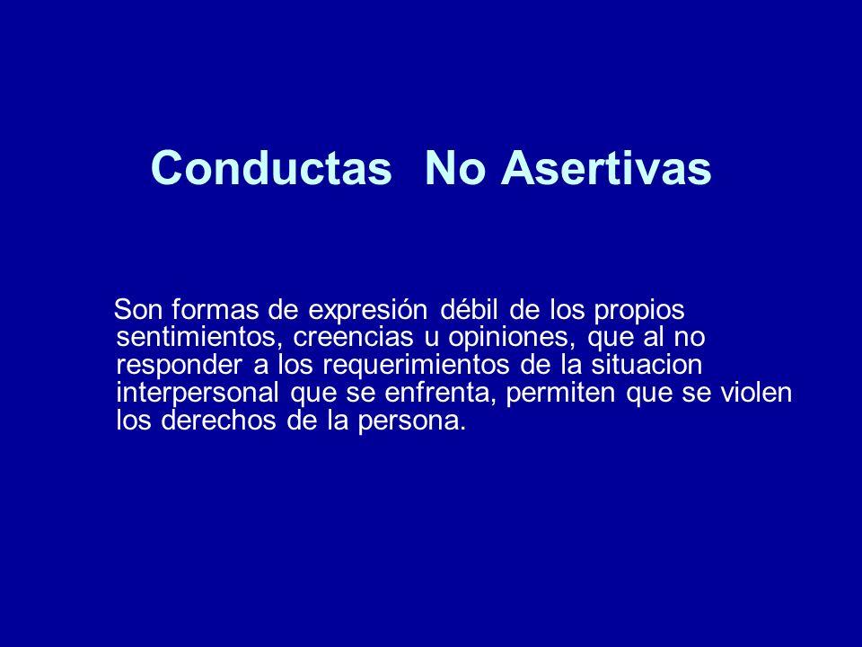 Conductas No Asertivas Son formas de expresión débil de los propios sentimientos, creencias u opiniones, que al no responder a los requerimientos de l