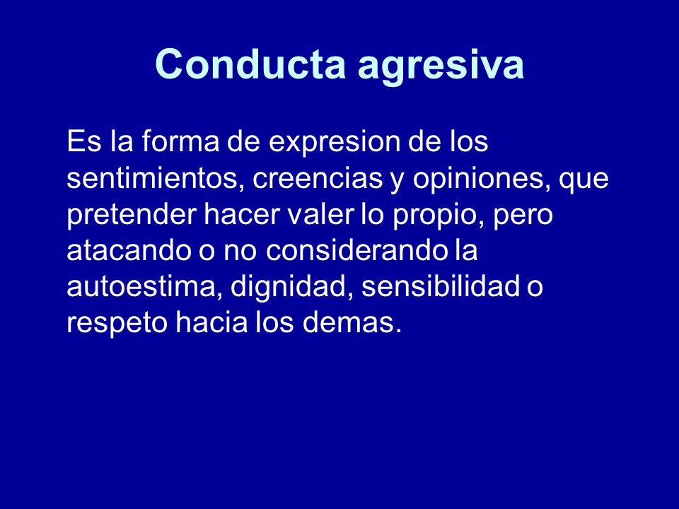 Conducta agresiva Es la forma de expresion de los sentimientos, creencias y opiniones, que pretender hacer valer lo propio, pero atacando o no conside
