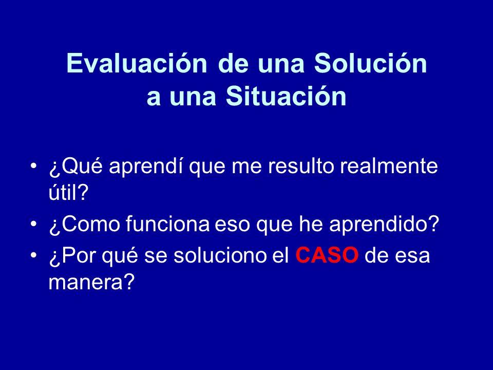 Evaluación de una Solución a una Situación ¿Qué aprendí que me resulto realmente útil? ¿Como funciona eso que he aprendido? ¿Por qué se soluciono el C