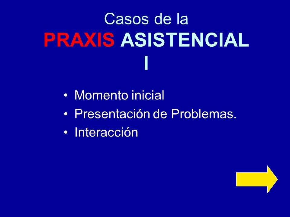 Casos de la PRAXIS ASISTENCIAL I Momento inicial Presentación de Problemas. Interacción