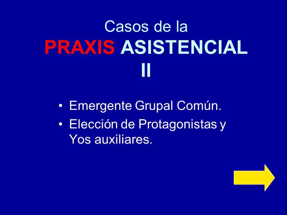 Casos de la PRAXIS ASISTENCIAL II Emergente Grupal Común. Elección de Protagonistas y Yos auxiliares.