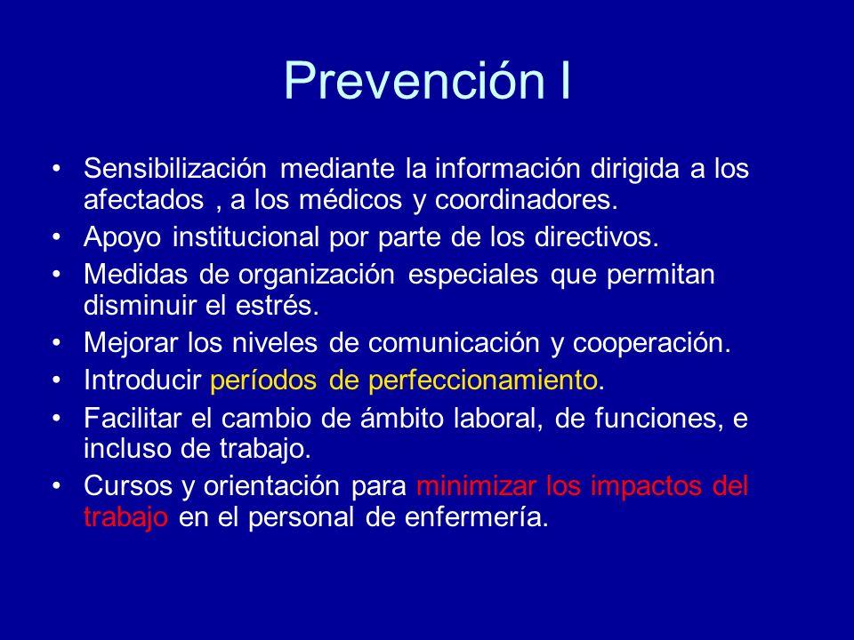 Prevención I Sensibilización mediante la información dirigida a los afectados, a los médicos y coordinadores. Apoyo institucional por parte de los dir