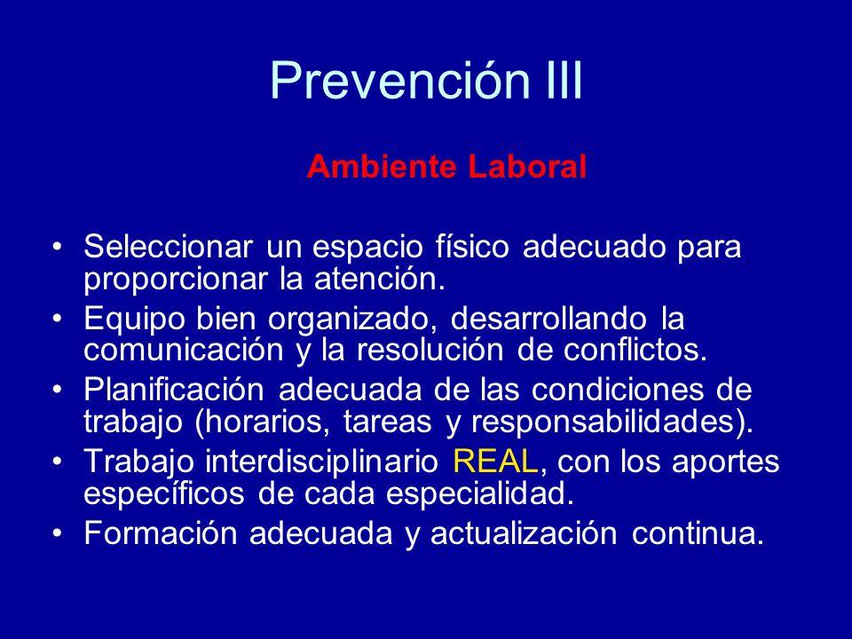 Prevención III Ambiente Laboral Seleccionar un espacio físico adecuado para proporcionar la atención. Equipo bien organizado, desarrollando la comunic