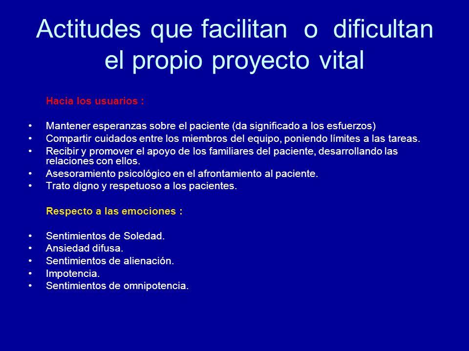 Actitudes que facilitan o dificultan el propio proyecto vital Hacia los usuarios : Mantener esperanzas sobre el paciente (da significado a los esfuerz