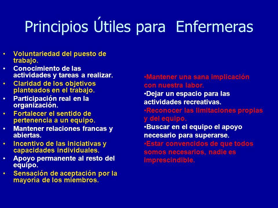 Principios Útiles para Enfermeras Voluntariedad del puesto de trabajo. Conocimiento de las actividades y tareas a realizar. Claridad de los objetivos