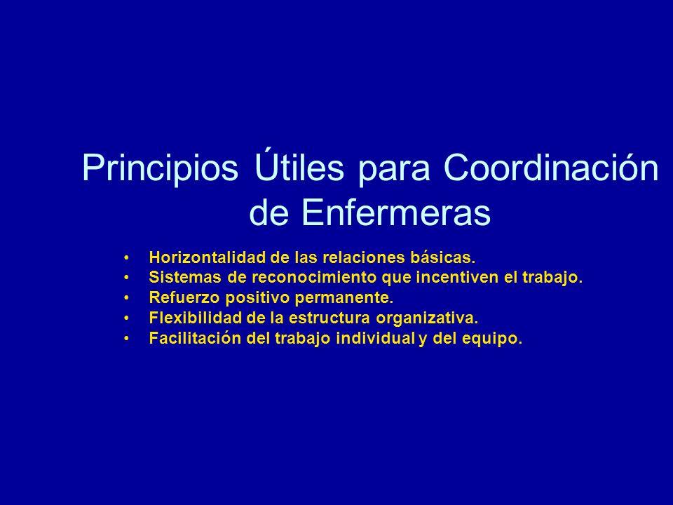 Principios Útiles para Coordinación de Enfermeras Horizontalidad de las relaciones básicas. Sistemas de reconocimiento que incentiven el trabajo. Refu