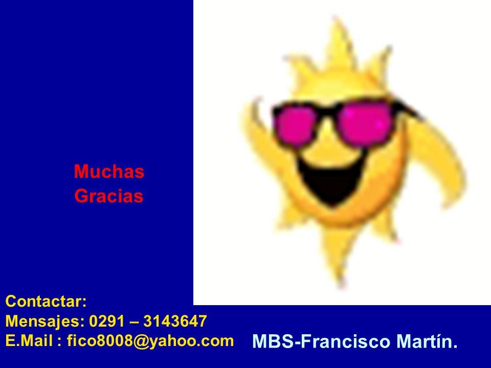 Contactar: Mensajes: 0291 – 3143647 E.Mail : fico8008@yahoo.com MBS-Francisco Martín. Muchas Gracias
