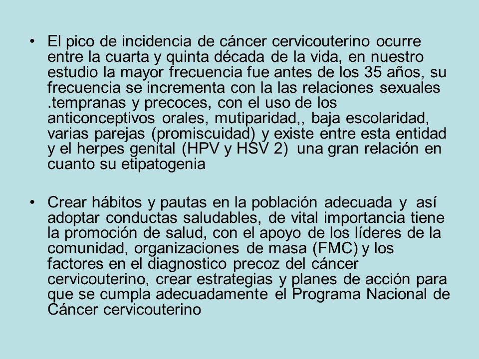 El pico de incidencia de cáncer cervicouterino ocurre entre la cuarta y quinta década de la vida, en nuestro estudio la mayor frecuencia fue antes de