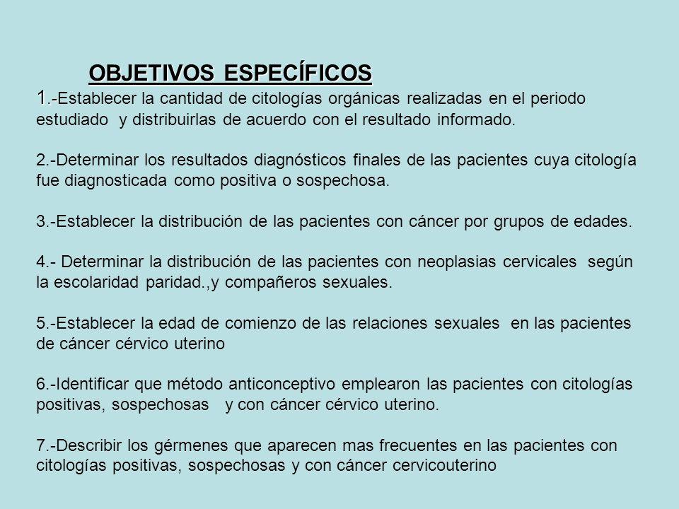 OBJETIVOS ESPECÍFICOS 1.- OBJETIVOS ESPECÍFICOS 1.-Establecer la cantidad de citologías orgánicas realizadas en el periodo estudiado y distribuirlas d
