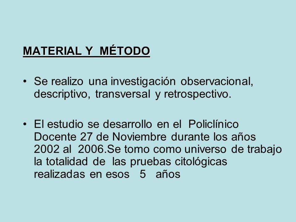 MATERIAL Y MÉTODO Se realizo una investigación observacional, descriptivo, transversal y retrospectivo. El estudio se desarrollo en el Policlínico Doc