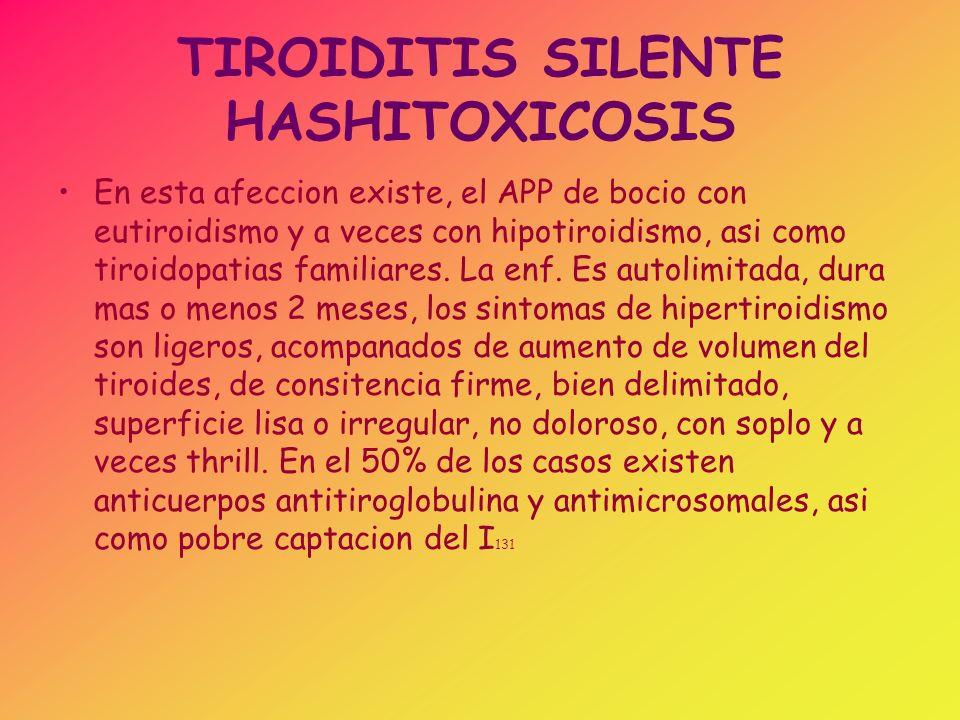 TIROIDITIS SILENTE HASHITOXICOSIS En esta afeccion existe, el APP de bocio con eutiroidismo y a veces con hipotiroidismo, asi como tiroidopatias famil