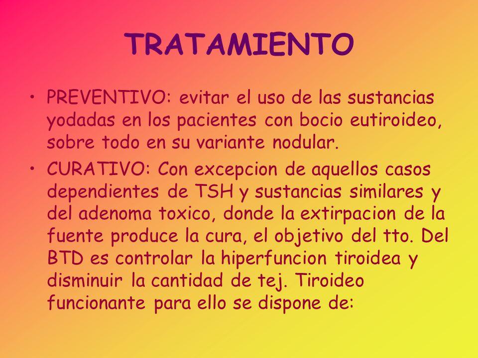 TRATAMIENTO PREVENTIVO: evitar el uso de las sustancias yodadas en los pacientes con bocio eutiroideo, sobre todo en su variante nodular. CURATIVO: Co