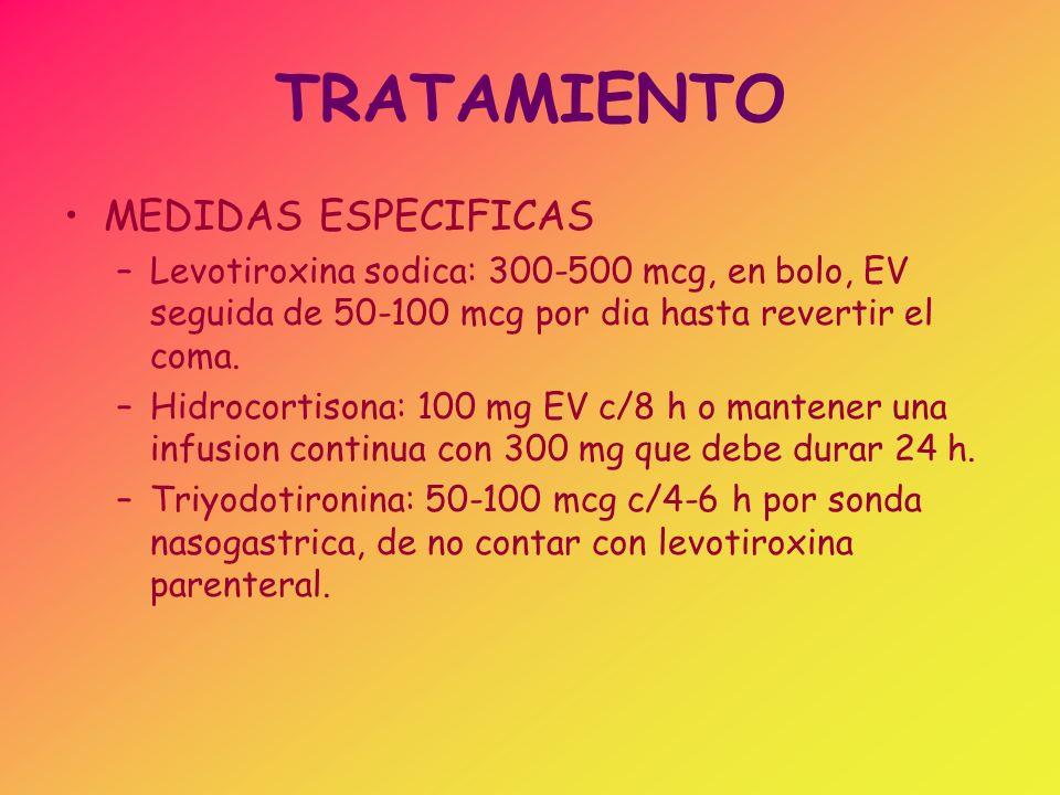 TRATAMIENTO MEDIDAS ESPECIFICAS –Levotiroxina sodica: 300-500 mcg, en bolo, EV seguida de 50-100 mcg por dia hasta revertir el coma. –Hidrocortisona: