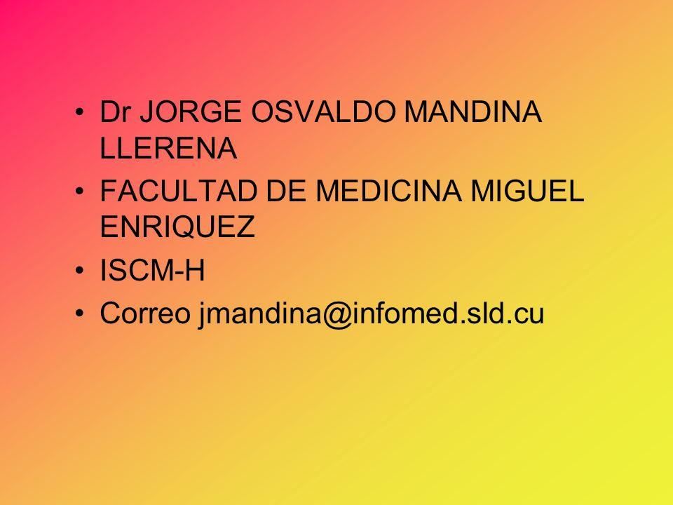 Dr JORGE OSVALDO MANDINA LLERENA FACULTAD DE MEDICINA MIGUEL ENRIQUEZ ISCM-H Correo jmandina@infomed.sld.cu