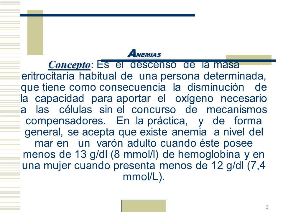 Dr. Carlos Guillén2 A NEMIAS Concepto A NEMIAS Concepto: Es el descenso de la masa eritrocitaria habitual de una persona determinada, que tiene como c