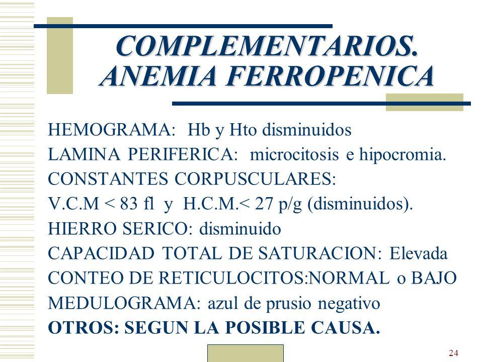 Dr. Carlos Guillén24 COMPLEMENTARIOS. ANEMIA FERROPENICA HEMOGRAMA: Hb y Hto disminuidos LAMINA PERIFERICA: microcitosis e hipocromia. CONSTANTES CORP