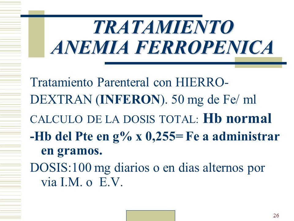 Dr. Carlos Guillén26 TRATAMIENTO ANEMIA FERROPENICA Tratamiento Parenteral con HIERRO- DEXTRAN (INFERON). 50 mg de Fe/ ml CALCULO DE LA DOSIS TOTAL: H