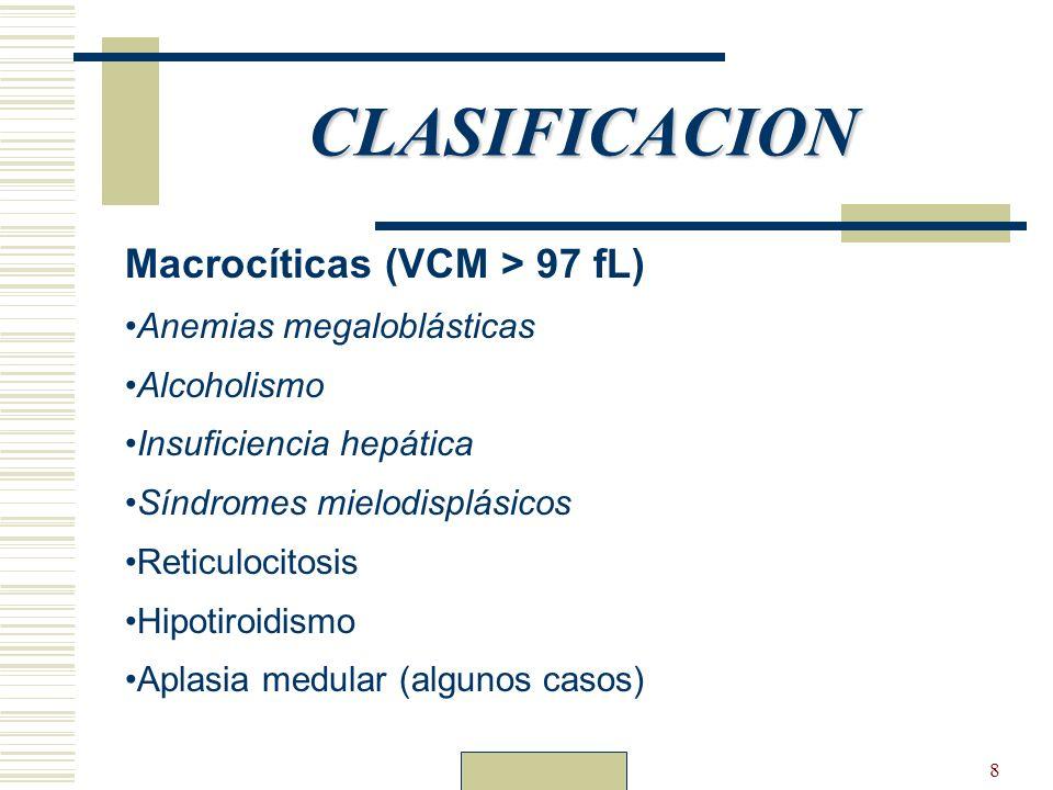 8 CLASIFICACION Macrocíticas (VCM > 97 fL) Anemias megaloblásticas Alcoholismo Insuficiencia hepática Síndromes mielodisplásicos Reticulocitosis Hipot