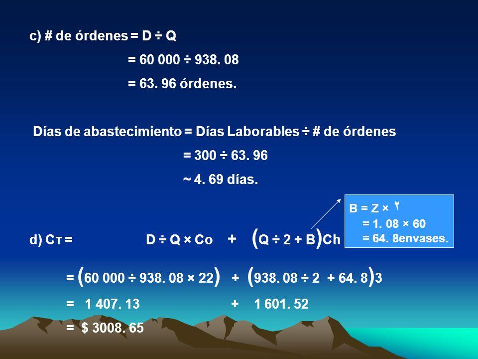 c) # de órdenes = D ÷ Q = 60 000 ÷ 938. 08 = 63. 96 órdenes. Días de abastecimiento = Días Laborables ÷ # de órdenes = 300 ÷ 63. 96 ~ 4. 69 días. d) C