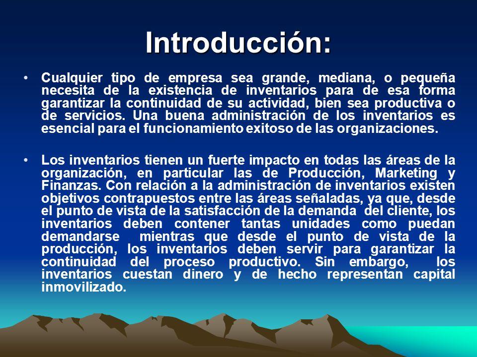 Introducción: Cualquier tipo de empresa sea grande, mediana, o pequeña necesita de la existencia de inventarios para de esa forma garantizar la contin