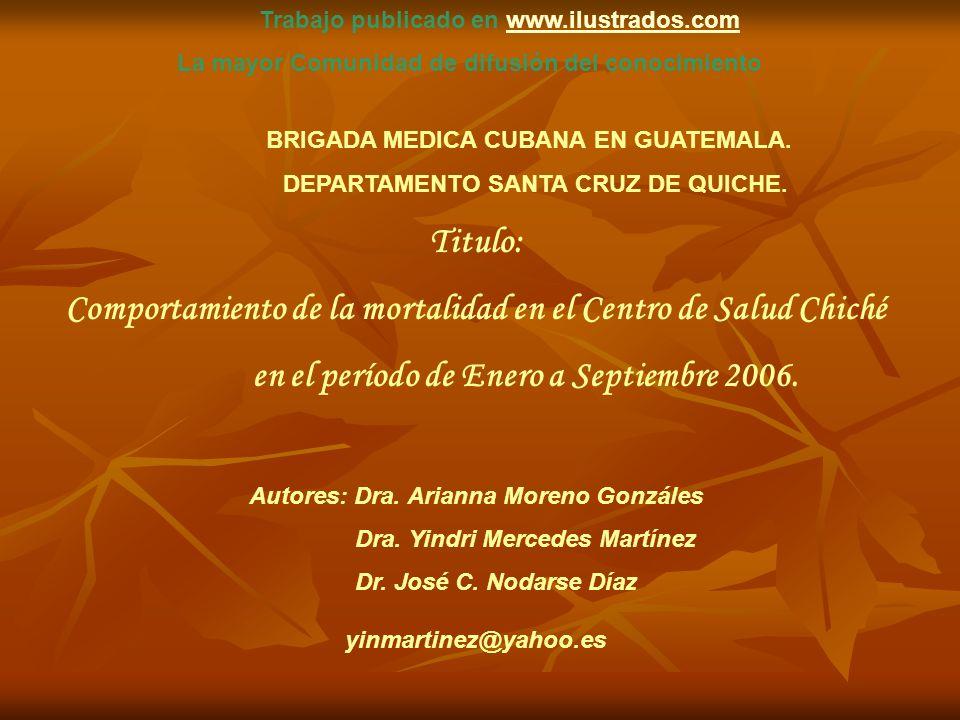 BRIGADA MEDICA CUBANA EN GUATEMALA. DEPARTAMENTO SANTA CRUZ DE QUICHE. Titulo: Comportamiento de la mortalidad en el Centro de Salud Chiché en el perí
