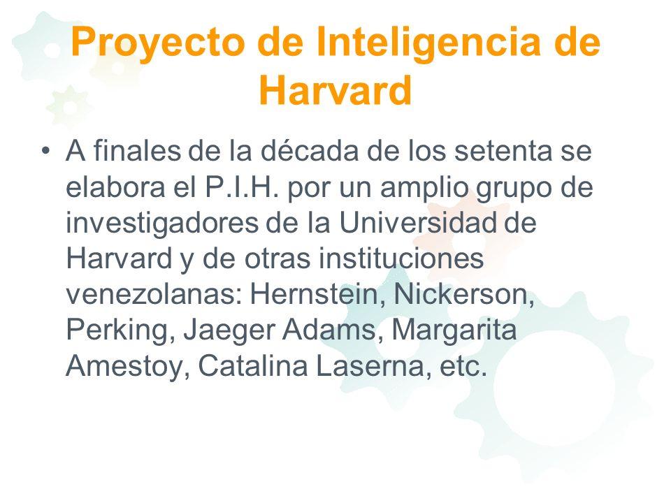Proyecto de Inteligencia de Harvard A finales de la década de los setenta se elabora el P.I.H. por un amplio grupo de investigadores de la Universidad