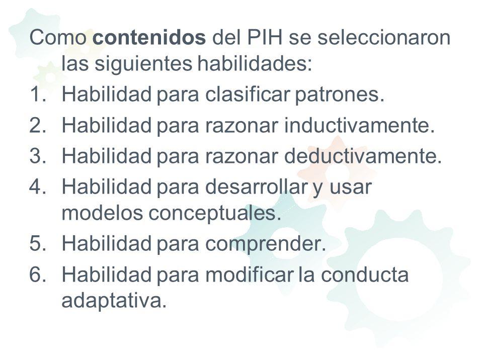 Como contenidos del PIH se seleccionaron las siguientes habilidades: 1.Habilidad para clasificar patrones. 2.Habilidad para razonar inductivamente. 3.