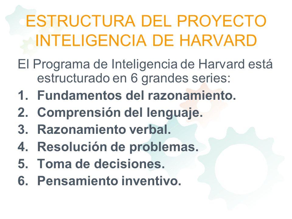 ESTRUCTURA DEL PROYECTO INTELIGENCIA DE HARVARD El Programa de Inteligencia de Harvard está estructurado en 6 grandes series: 1.Fundamentos del razona