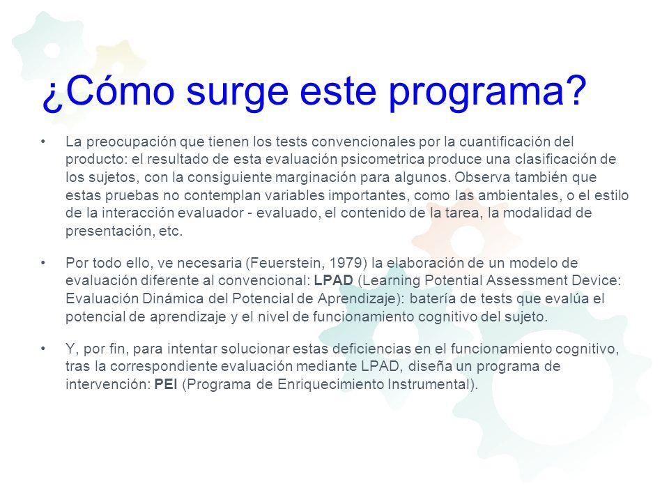¿Cómo surge este programa? La preocupación que tienen los tests convencionales por la cuantificación del producto: el resultado de esta evaluación psi