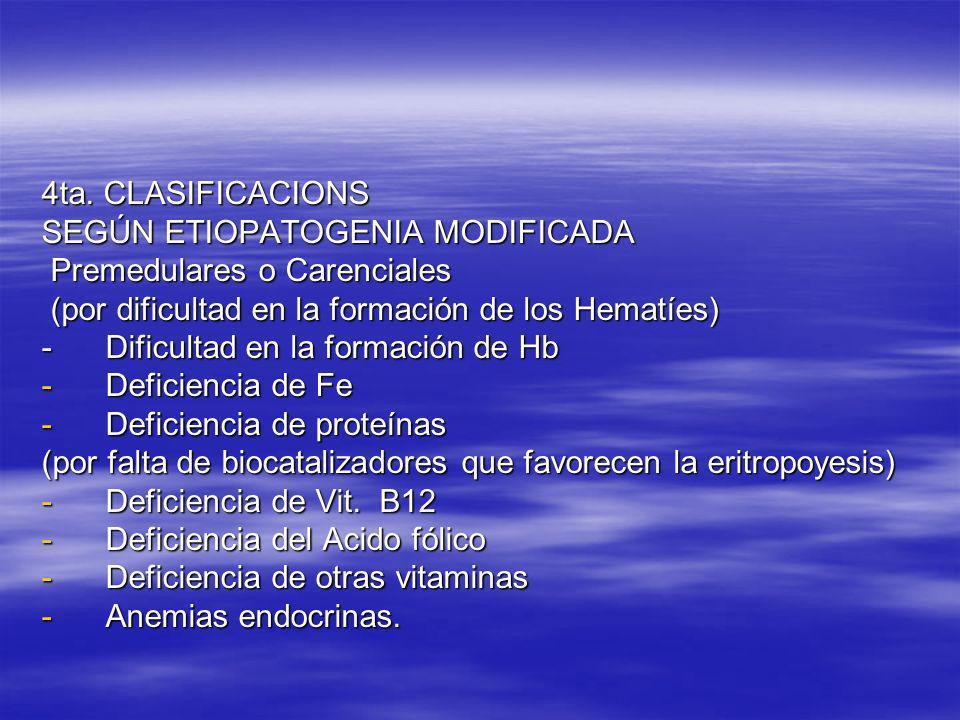 4ta. CLASIFICACIONS SEGÚN ETIOPATOGENIA MODIFICADA Premedulares o Carenciales Premedulares o Carenciales (por dificultad en la formación de los Hematí