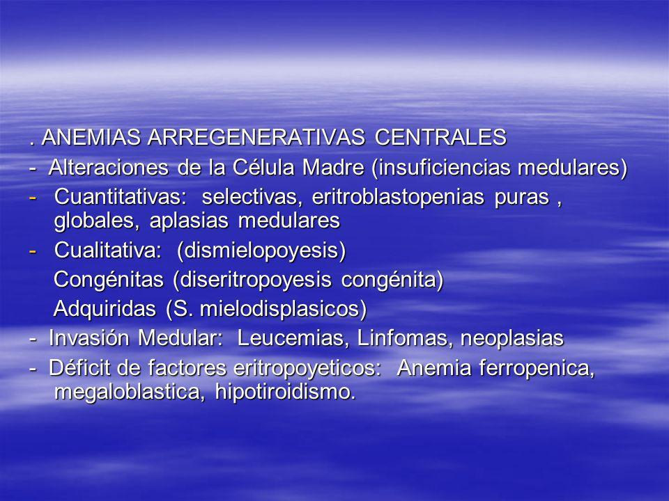 . ANEMIAS ARREGENERATIVAS CENTRALES - Alteraciones de la Célula Madre (insuficiencias medulares) -Cuantitativas: selectivas, eritroblastopenias puras,