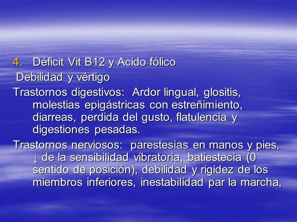 4.Déficit Vit B12 y Acido fólico Debilidad y vértigo Debilidad y vértigo Trastornos digestivos: Ardor lingual, glositis, molestias epigástricas con es