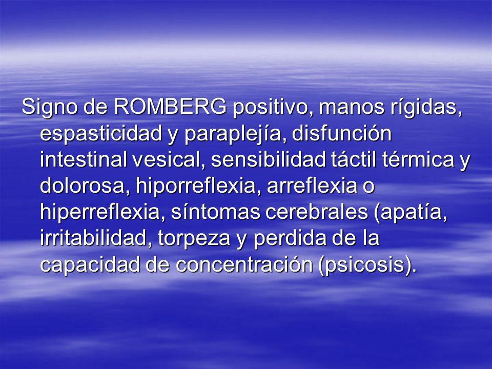 Signo de ROMBERG positivo, manos rígidas, espasticidad y paraplejía, disfunción intestinal vesical, sensibilidad táctil térmica y dolorosa, hiporrefle