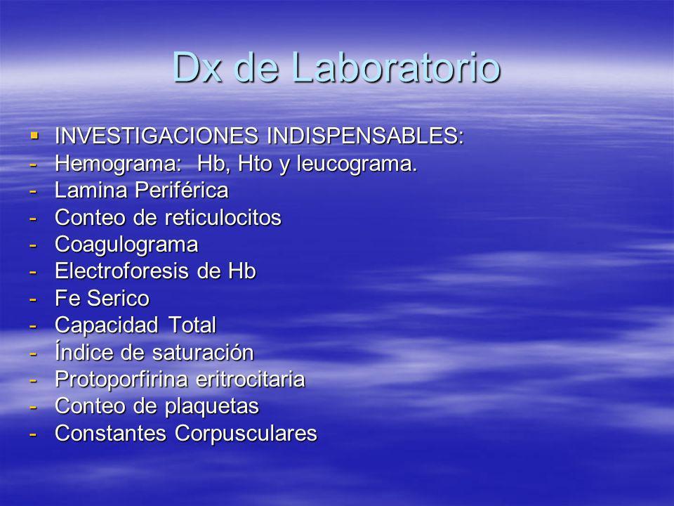 Dx de Laboratorio INVESTIGACIONES INDISPENSABLES: INVESTIGACIONES INDISPENSABLES: -Hemograma: Hb, Hto y leucograma. -Lamina Periférica -Conteo de reti