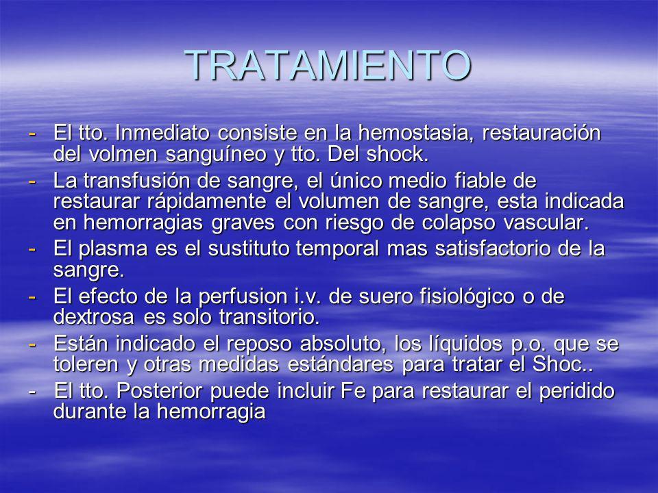 TRATAMIENTO -El tto. Inmediato consiste en la hemostasia, restauración del volmen sanguíneo y tto. Del shock. -La transfusión de sangre, el único medi