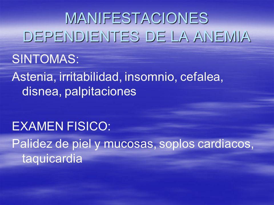 MANIFESTACIONES DEPENDIENTES DE LA ANEMIA SINTOMAS: Astenia, irritabilidad, insomnio, cefalea, disnea, palpitaciones EXAMEN FISICO: Palidez de piel y