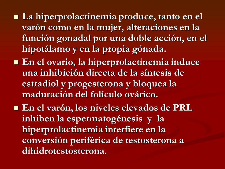 La hiperprolactinemia produce, tanto en el varón como en la mujer, alteraciones en la función gonadal por una doble acción, en el hipotálamo y en la p